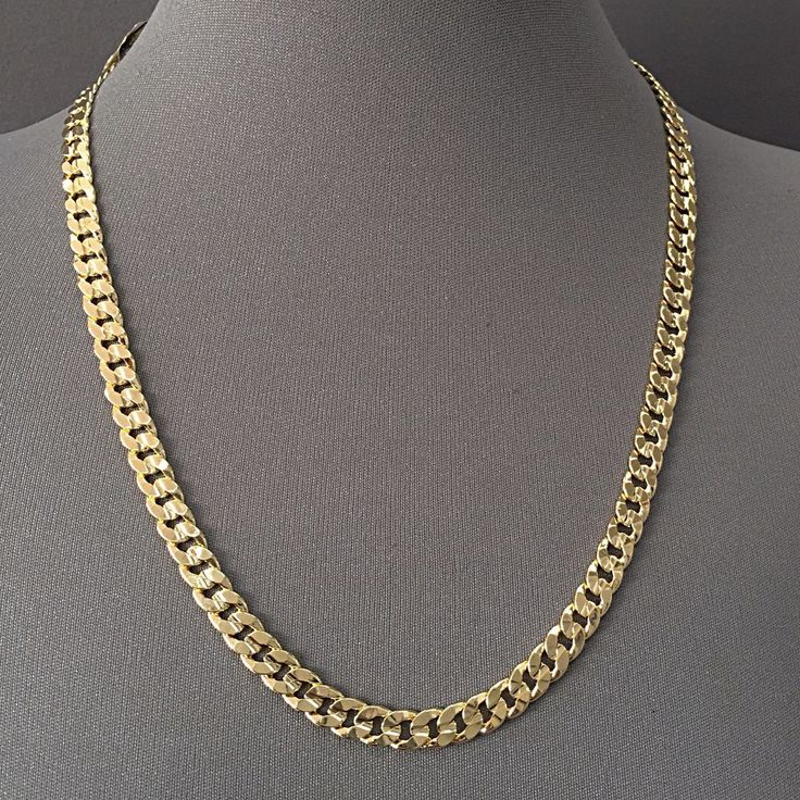 Details about 227/24 - Men's Necklace 14K Gold Plated 7.5 mm / Cuban Link…