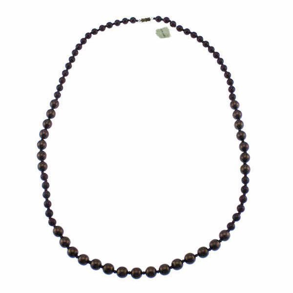 Corocraft Bronze and Red Glass Bead Necklace