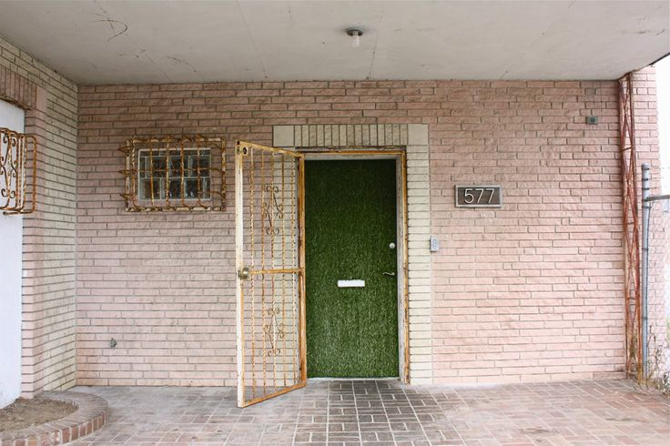 I love the idea of fake grass on the door!