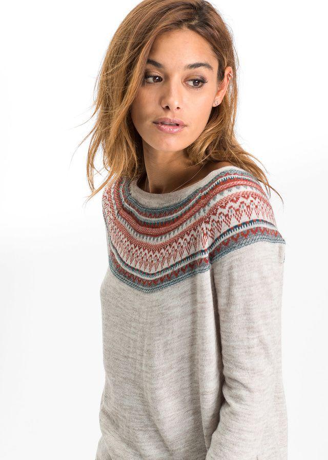 Sweter dzianinowy Sweter w żakardowy • 109.99 zł • bonprix
