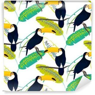 Fotomural Estándar Toco tucán en hojas de plátano vector patrón sin fisuras en el fondo blanco. hoja de la selva tropical y aves exóticas sentado en la rama.