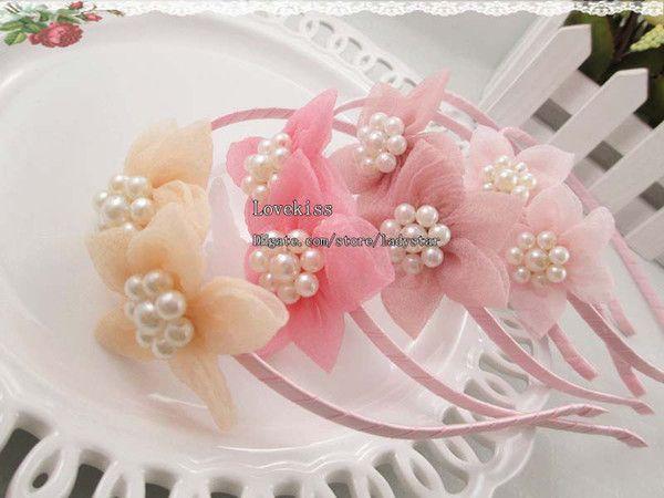 Ragazze carine fiore della perla archi dei capelli per bambini accessori per bambini archi dei capelli del bambino per capelli accessori moda cose principessa Headwear del bambino si piega