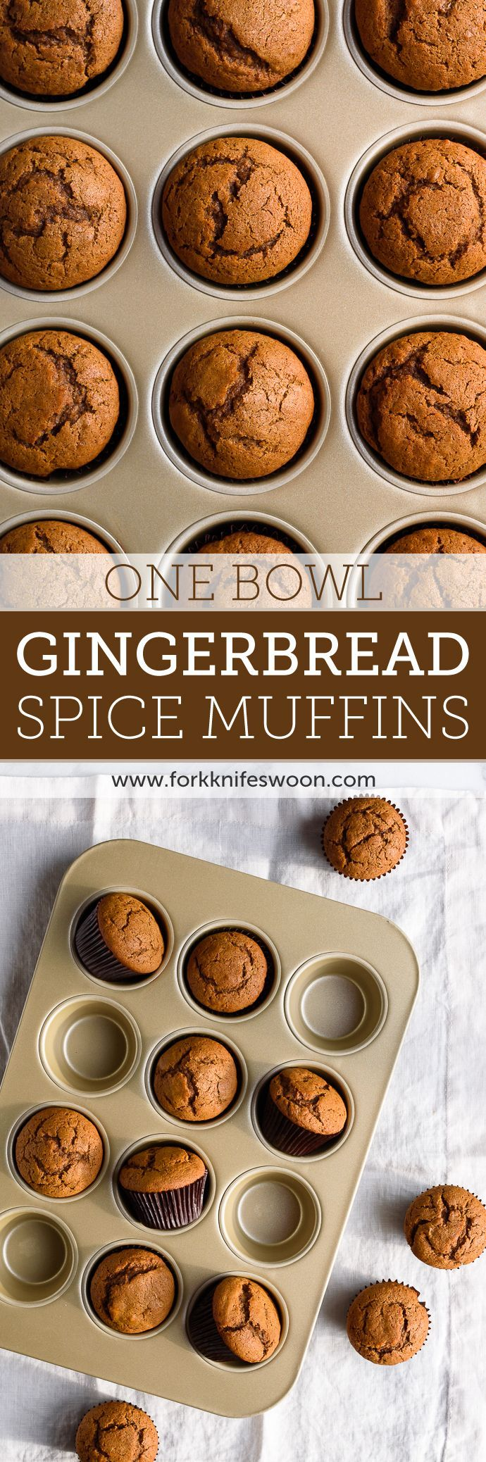 One Bowl Gingerbread Muffins | Fork Knife Swoon @forkknifeswoon #desserts http://www.forkknifeswoon.com/food-drink/2014/12/one-bowl-spiced-gingerbread-muffins/