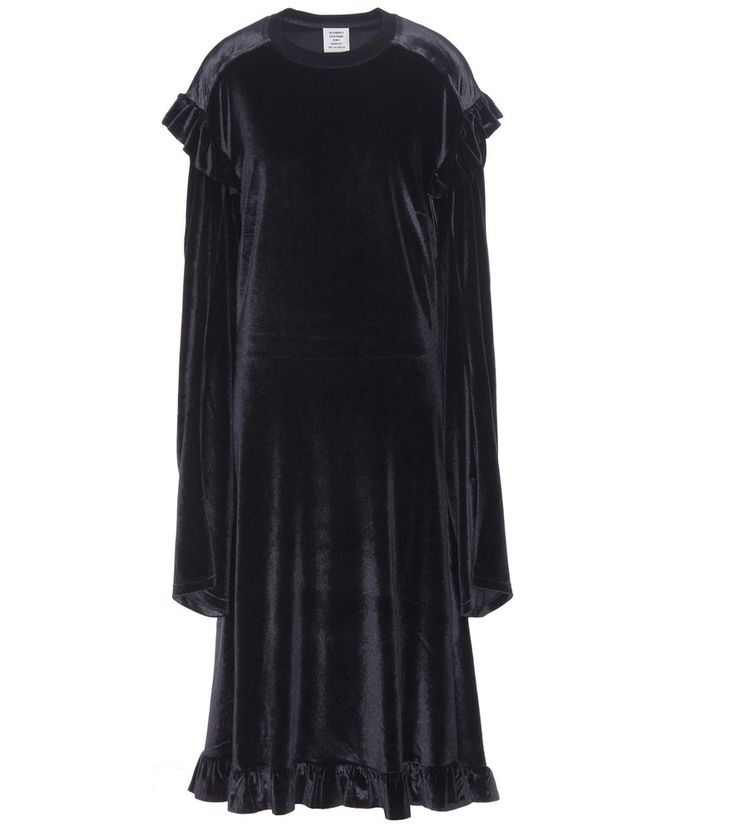 Vetements - Ruffled velvet dress - Everyone from street-style stars to fashion editors can agree that when it comes to contemporary, urban styling, VETEMENTS is the name to know. The label shows off its more feminine side with this velvet dress, finished in stark black to keep the look rebelliously cool. Ruffled flounces at the shoulders and hem give the oversized design soft movement. Wear yours with a pair of heeled boots for a serious dose of attitude. seen @ www.mytheresa.com