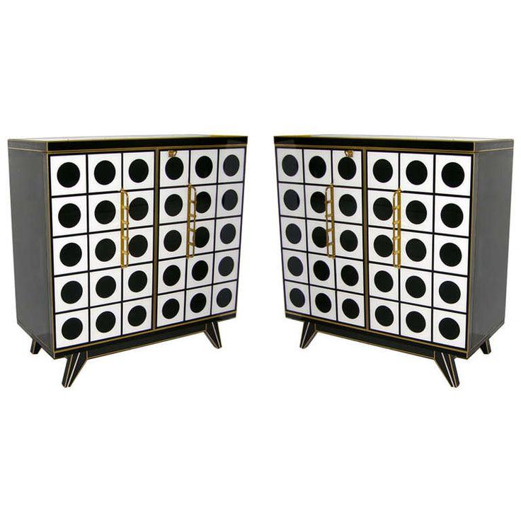 Outstanding 1960s Italian Pair Of Black And White Murano Glass Cabinets  With Bronze Knuckle Handles