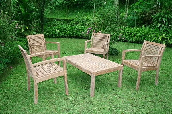 Stacking Arm Chair and Deco Coffee Table. Designed for meeting, gathering, and outdoor party. Made from best Indonesian teak wood also accordance to standards quality of export. #teakwood #outdoor #teakfurniture #garden