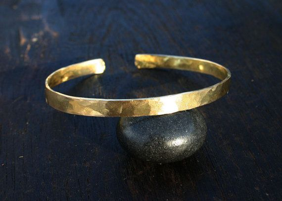 Gold cuff bracelet. 18k gold bracelet. Solid gold cuff. Hammered, rustic, organic, 18k yellow gold jewelry. Wide thick. Mens Womens Unisex