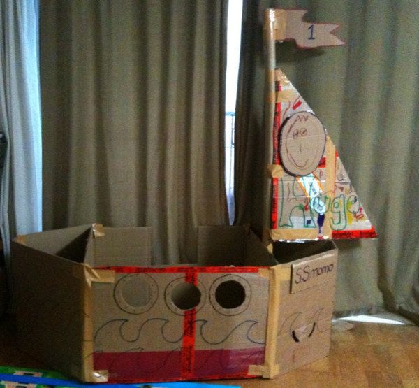 A pirate ship. | 31 Things You Can Make With A Cardboard Box That Will Blow Your Kids' Minds