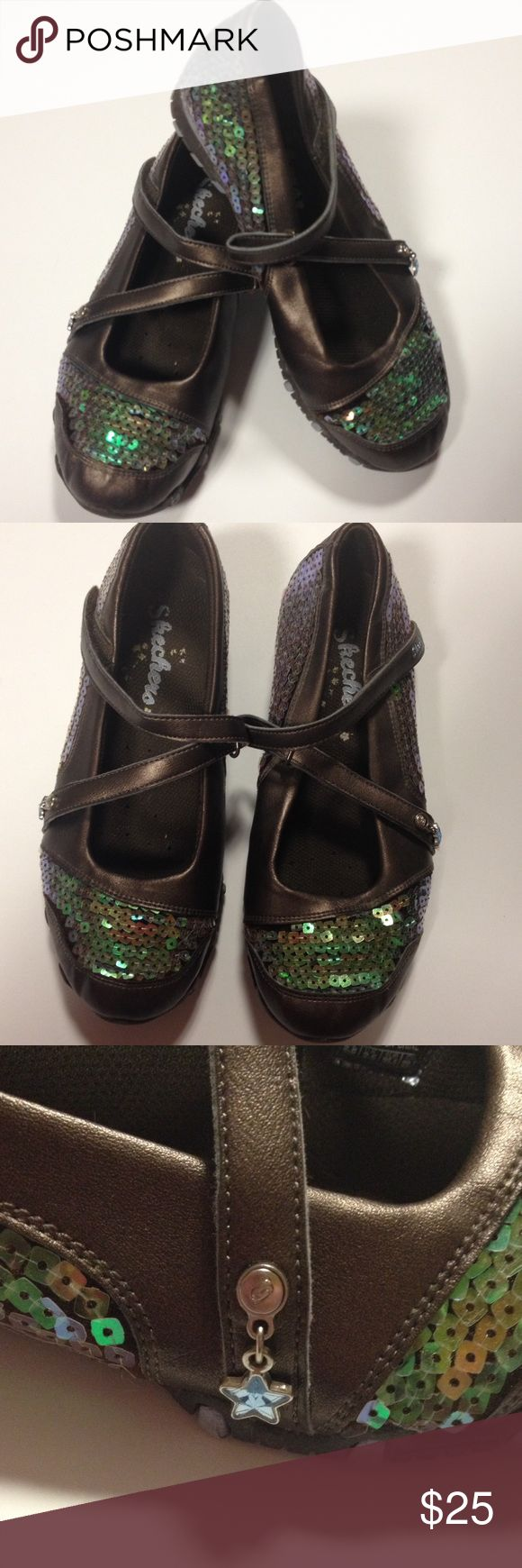 Skechers flats Bling Skechers with adorable details.  Very good preloved condition. Clean. Skechers Shoes Slippers