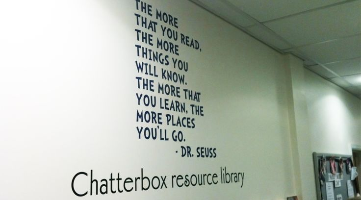 Dr Seuss Wall Quote. This wall quote was made for a nursery library to inspire children to read. Our wall quotes are custom made to suit each space. By space3.co.uk