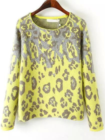 I've never toght fluo yellow would match so well leopard print ...  Yellow Long Sleeve Leopard Print Knit Sweater 33.33