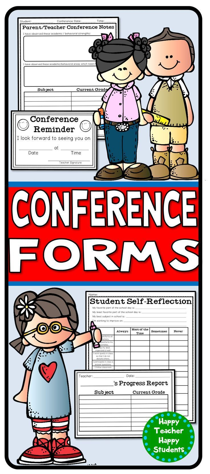 Parent Teacher Conference Form Bundle: 5 Forms Included And You Save 40%