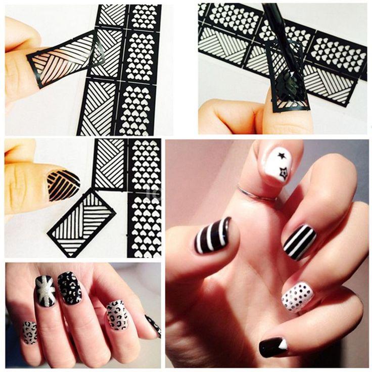 1 Pcs impression Nail Art autocollant bricolage Stencil autocollants pour les ongles 3D 24 conception facile Stamping Template manucure fournitures JH372 dans Stickers et décalcomanies de Health & Beauty sur AliExpress.com | Alibaba Group