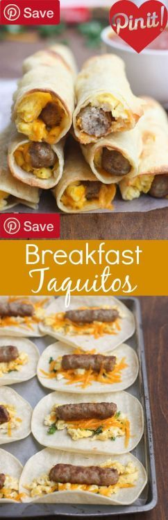 DIY Egg and Sausage Breakfast Taquitos - Ingredients Gluten...  DIY Egg and Sausage Breakfast Taquitos - Ingredients Gluten free Meat 1 (7 oz) box Jones dairy farm sausage links Produce 1 cup Baby spinach Refrigerated 5 Eggs large Baking & Spices 1 Salt and pepper Bread & Baked Goods 10 White corn tortillas Dairy 1 cups Cheese #delicious #diy #Easy #food #love #recipe #recipes #tutorial #yummy @ICookUEat - Make sure to follow @ICookUEat cause we post alot of food recipes and DIY we post Food…