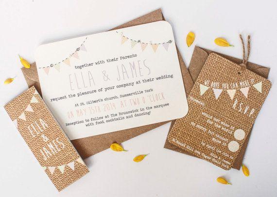 Burlap weddinginvitation  pastel bunting hessian by normadorothy, £2.50