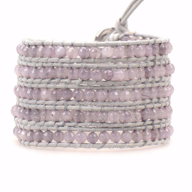 Lavender Malaysian Jade on Gray - Wrap Bracelet