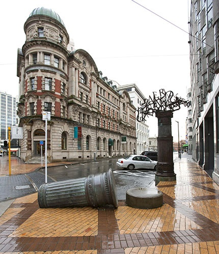wellington art icons -  PROPS FOR BIGGER ANIMALS TO PLAY ON IN POSTER MAYBE Sculpture: Ruaumoko  Artist: Ralph Hotere & Mary McFarlane  Material: Various  Date: 1998  Location: Corner of Lambton Quay and Stout Street