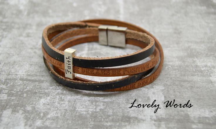 bracelet homme cuir marron et noir 2 lacets + perle FAITH : Bracelet par lovely-words