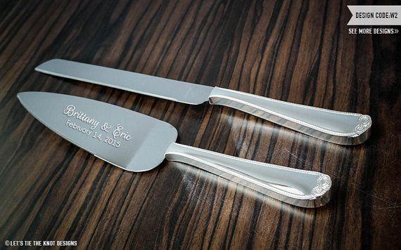 Wedgewood Vera Wang Infinity Cake Knife and Server Set - Custom Engraved Wedding Cake Server and Knife SET - Personalized Wedding Gift by LetsTieTheKnot