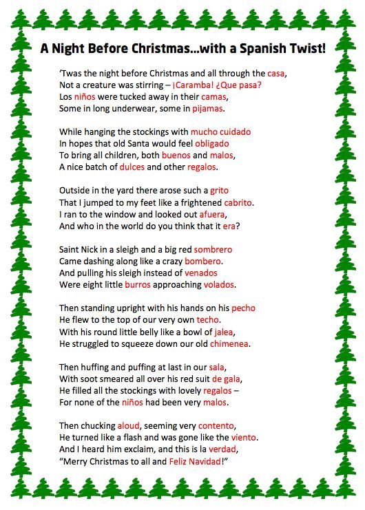 A Night Before Christmas...with a Spanish Twist! - Free Resources for Spanish Teachers   Plaza Santillana: