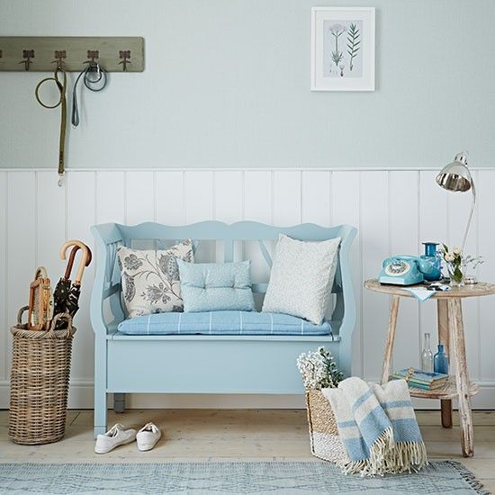 Pale blue colors with the natural elements make this bench stand out. Would be worth looking into as a piece to create for a mud room or front door space.