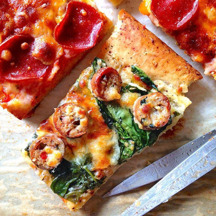 focaccia split in half to make pizza_ see blitz bread recipe