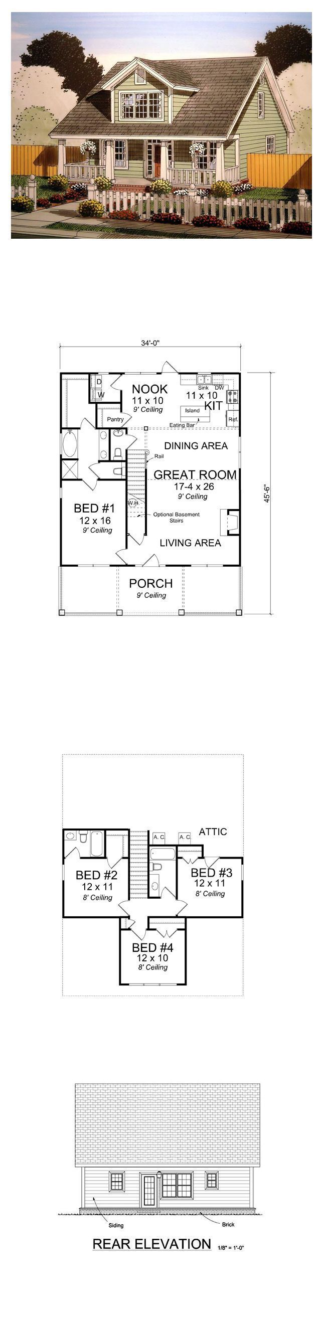 Cape Cod House Plan 61403 | Total Living Area: 1871 sq. ft., 4 bedrooms & 3.5 bathrooms. #houseplan #capecodstyle:
