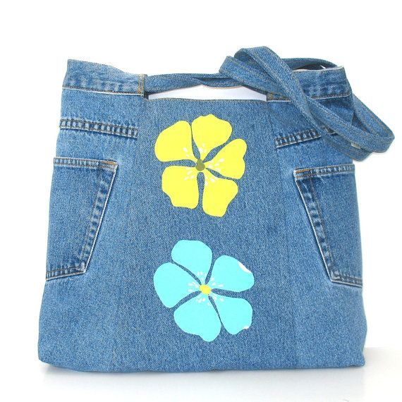 Upcycled clothing Eco friendly bag blue recycled by Sisoibags