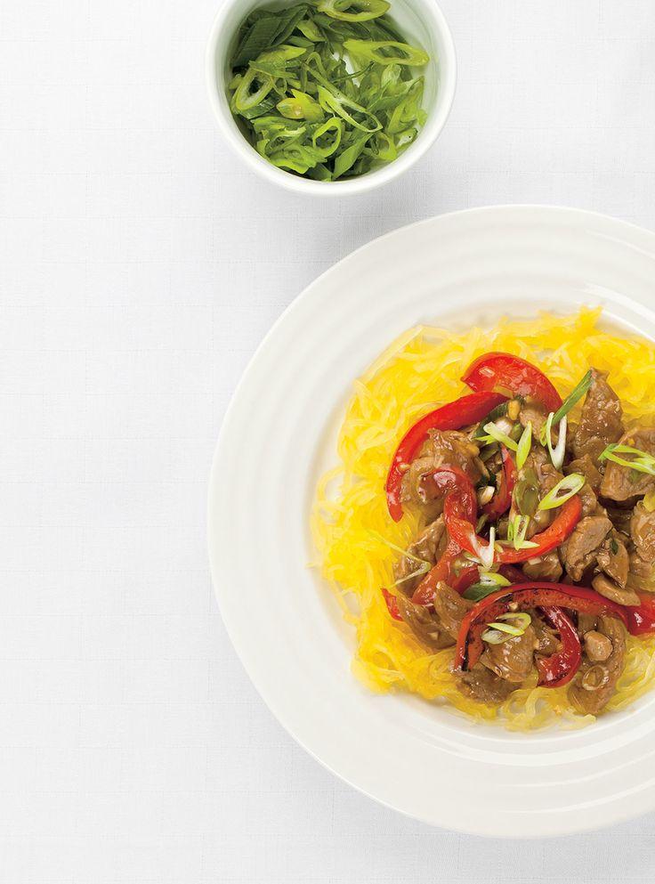 Recette de Ricardo de courge spaghetti et sauté de porc asiatique