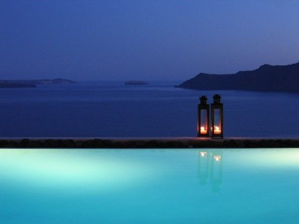 After sunset by the pool, when everything takes a shade of blue.