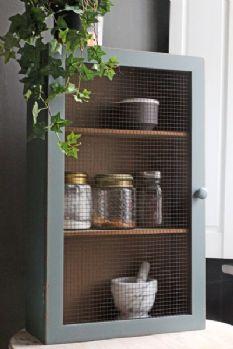 Atlas Blue Wall Cabinet with Mesh Door