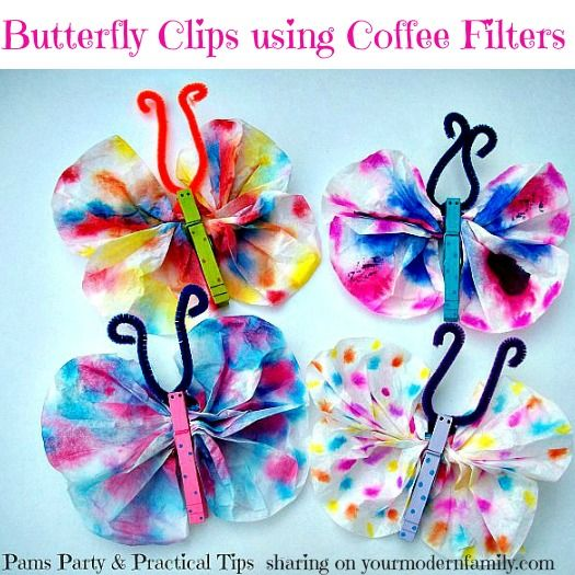 butterfly crafts with coffee filters & other fun butterfly crafts! yourmodernfamily.com