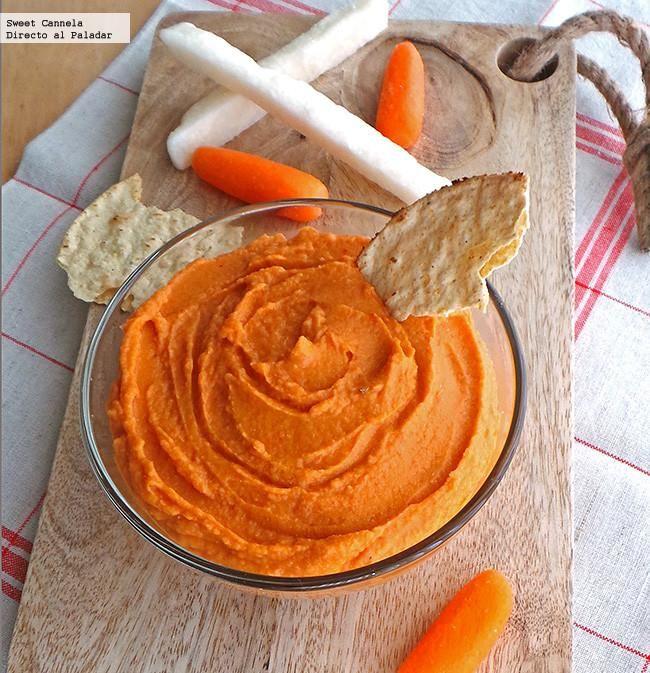 Receta de hummus con pimiento rojo asado. Con fotografías del paso a paso y consejos de degustación. Un saludable y delicioso aperitivo...