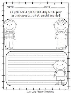 This would be a fun activity for the kids to do after we read the Hello, Goodbye Window. They could say what they like to do with their grandparent or grandparents. Also what they like about their grandparents.