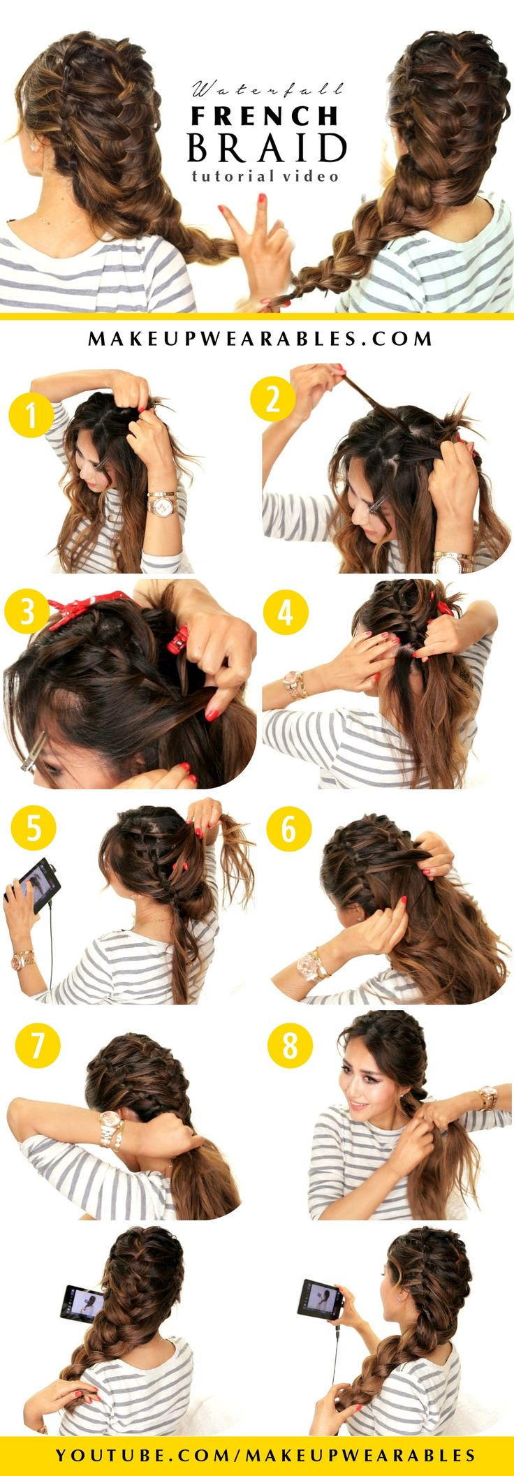 Cute Waterfall Braid mixed French Braid Hair Tutorial | Braided Hairstyles for everyday & wedding | #Hairstyles #updo #updos #teen #teenager #style #fashion #beauty #Peinados #wedding #romantic #pretty #beautiful #styles #look #braids