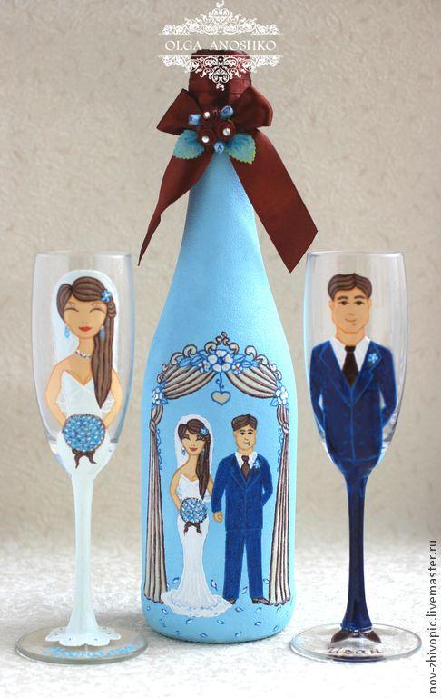 """Купить Свадебный набор """"Жених и Невеста"""". Роспись по стеклу. - свадебный набор, свадебные аксессуары"""