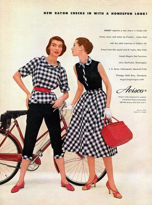 Avisco 1955 #vintage #fashion color photo print ad models magazine dress skirt shirt pants shoes purse black white checks circle pencil casual day wear 50s