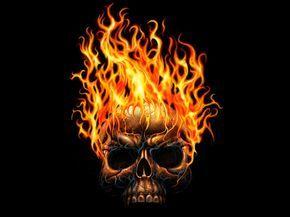 Тьма Череп  огонь Пламя Тьма Обои