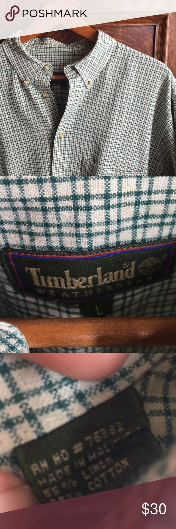 TIMBERLAND Men's Linen Blend Buttondown LIKE NEW - Timberland Linen Cotton Blend Long Sleeve Button Down - Green and Stone - Size Large   Sleeve 29 Chest 25 Length 30 Timberland Shirts