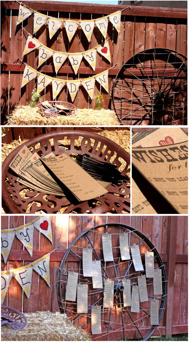 cowboy western baby shower centerpiece  | ... cards for mom and baby and pinned then to the wheel. Such a cute idea
