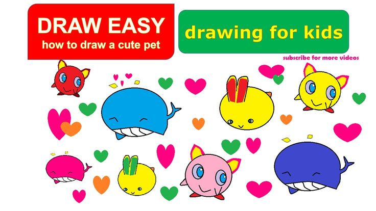 Cartooning draw easy - how to draw cute animals - draw whale - draw rabb...