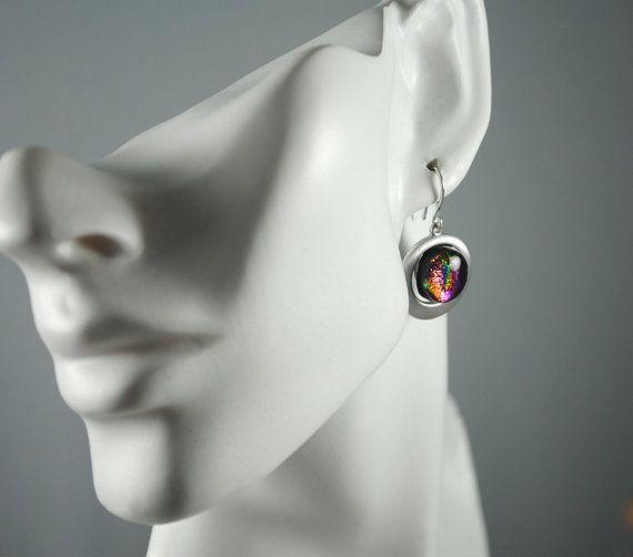 Earrings Handmade Fused Dichroic Glass by SouthBeachGlassArt, $25.00