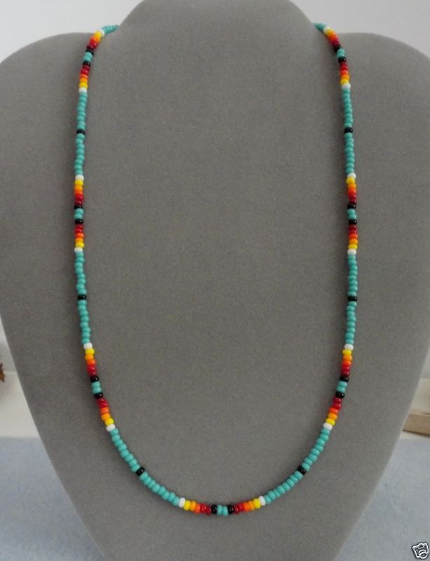 Turquoise Beaded Mens, Womens Necklace Native American