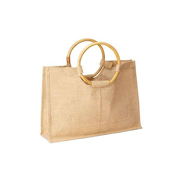 ba935da6b86f Jute Bag with Bamboo Handle