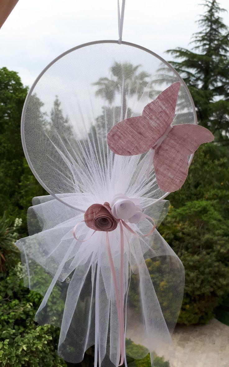 Traumfänger mit Schmetterling und Leinenrosen – #Acchiappasogni #con #farfall…