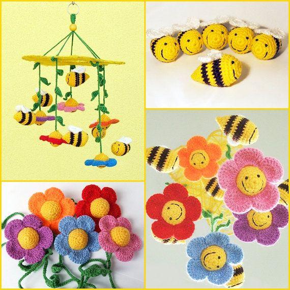 Bienen und Blumen / häkeln Baby Mobile / mobile Krippe / Kindergarten Dekor / Kinderzimmer  Auf Bestellung gefertigt, ist versandfertig in 2-3 Wochen.  Alle meine Handys sind mit viel Liebe, Geduld und Sorgfalt gemacht :)  Schöne und bunte Baby mobile oder Raumdekoration mit Häkeln Bienen und Blumen. Babys erkennen sehr früh das Lächeln (sie fühlen, sie verstehen) Zahlen und sie Lächeln zurück. Die Farbwahrnehmung von Säuglingen entwickelt im Alter von 5-6 Monaten. Sehr wichtig, sie so viele…