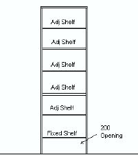 Wardrobe 5 Shelves - 2000x1000x595 - WHITE Laminate - * Style