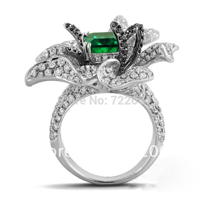 Купить товар925 чистое серебро инкрустированные изумруд прямоугольный округлые цветок кольцо женское роскошь микроскоп в категории Кольцана AliExpress.             Главный камень размер: 10x12 мм                                                  Серебряный тяжелый: 1