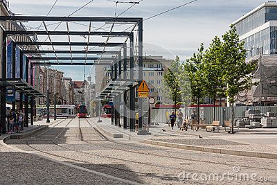 Katowice, Poland - July 10, 2016: Katowice market - newly created tram stop and reconstruction of the city center.
