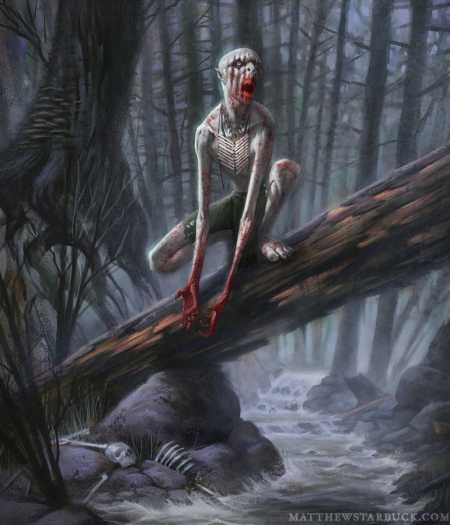 In Algonquian folklore, the wendigo or windigo is a cannibal monster or evil spirit native to the northern forests of the Atlantic Coast and Great Lakes Region of both the United States and Canada. The wendigo may appear as a monster with some characteristics of a human, or as a spirit who has possessed a human being and made them become monstrous. It is historically associated with cannibalism, murder, insatiable greed, and the cultural taboos against such behaviours.